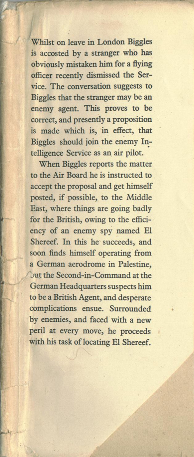 Biggles Flies East - Front flap of 07-12