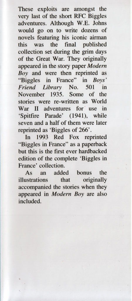 Biggles in France - Front flap of 09-04
