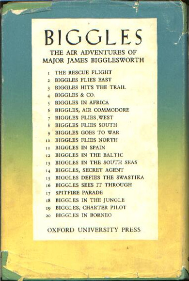 Biggles Flies South - Rear cover of 14-11