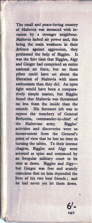 Biggles Goes To War - Front flap of 15-09