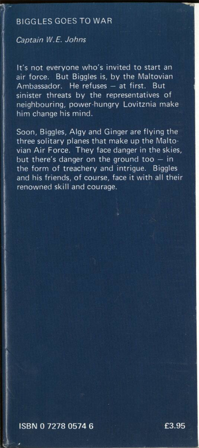 Biggles Goes To War - Front flap of 15-19