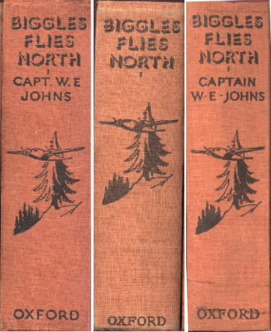 Biggles Flies North - Spine variants of 18-01