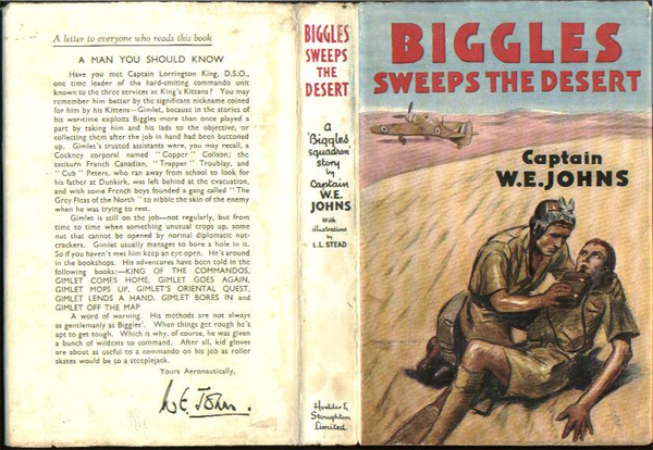 Biggles Sweeps the Desert - Dustjacket of 26-05