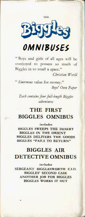 Biggles on Mystery Island - Rear flap of 61-03