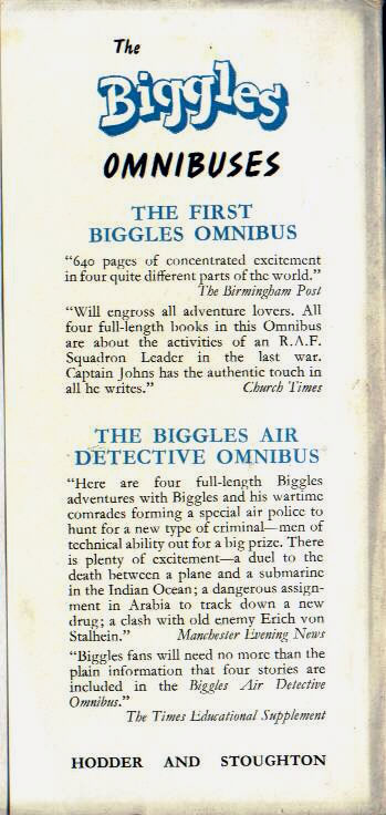 Biggles Forms a Syndicate - Rear flap of 69-01