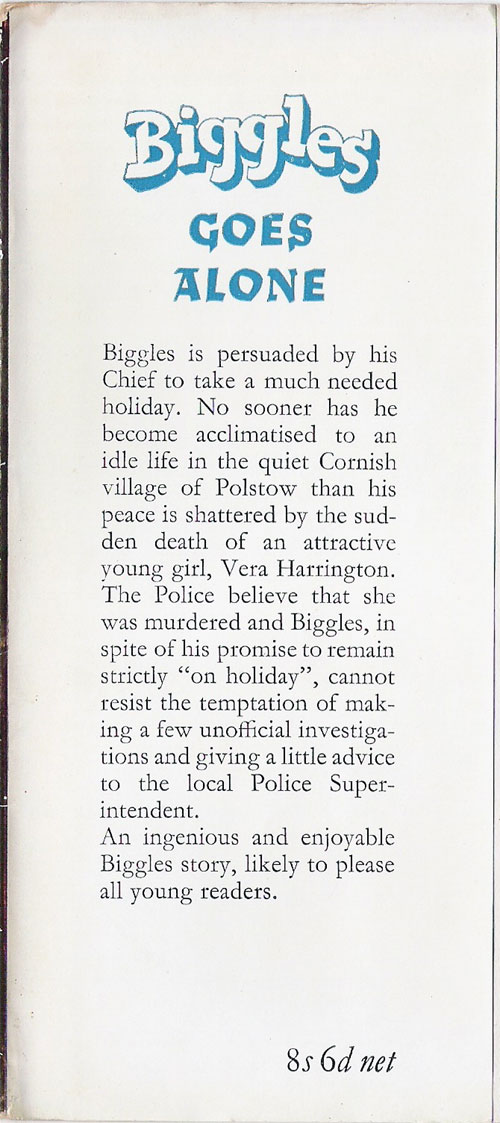 Biggles Goes Alone - Front flap of 71-01