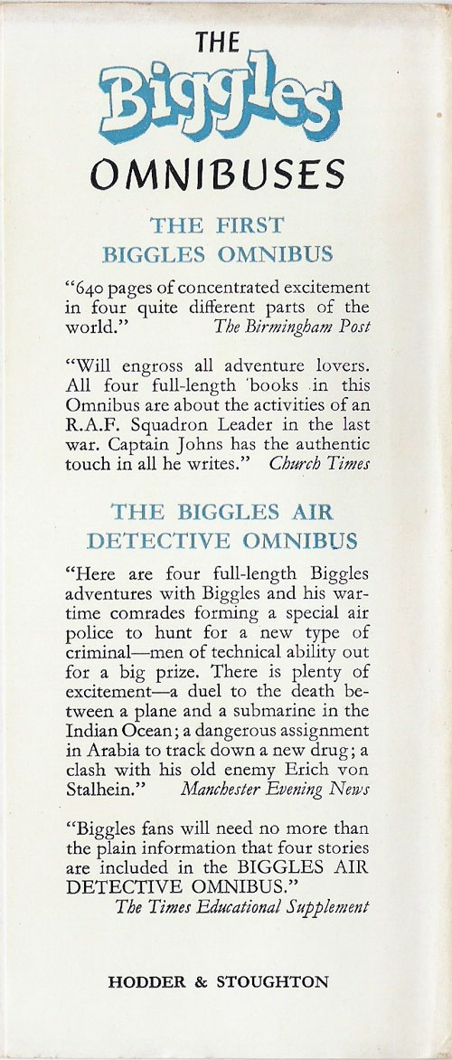 Biggles Goes Alone - Rear flap of 71-01